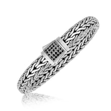 Load image into Gallery viewer, Sterling Silver Braided Black Sapphire Adorned Men's Bracelet