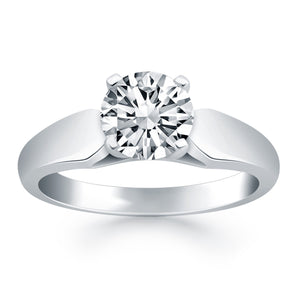14k White Gold Tapered Cathedral Solitaire Engagement Ring