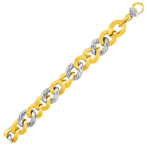 14k Two-Tone Yellow and White Gold Textured Oval Bracelet