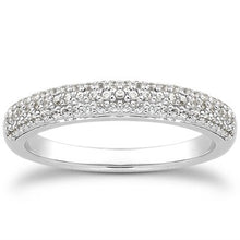 Load image into Gallery viewer, 14k White Gold Triple Multi-Row Micro- Pave Diamond Wedding Ring Band