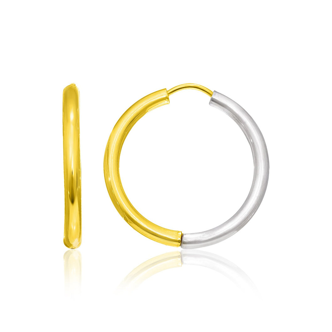 14k Two-Tone Gold Hoop Earrings in a Hinged Style