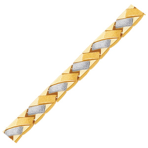 14k Two-Tone Gold Fancy Weave Bracelet with Contrasting Finish