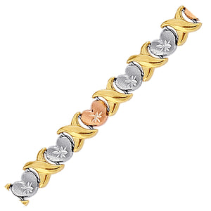 14k Yellow and Rose Gold and Sterling Silver Diamond Cut Heart Chain Bracelet