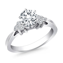 Load image into Gallery viewer, 14k White Gold Cathedral Engagement Ring with Side Diamond Clusters