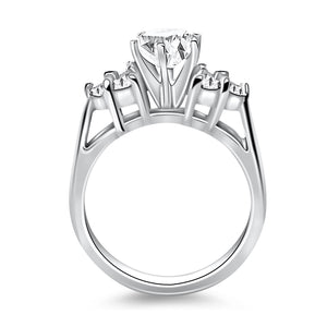 14k White Gold Cathedral Engagement Ring with Side Diamond Clusters