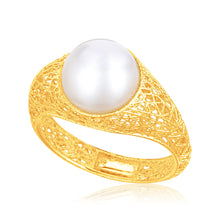 Load image into Gallery viewer, Italian Design 14k Yellow Gold Crochet Ring with Cultured Pearl