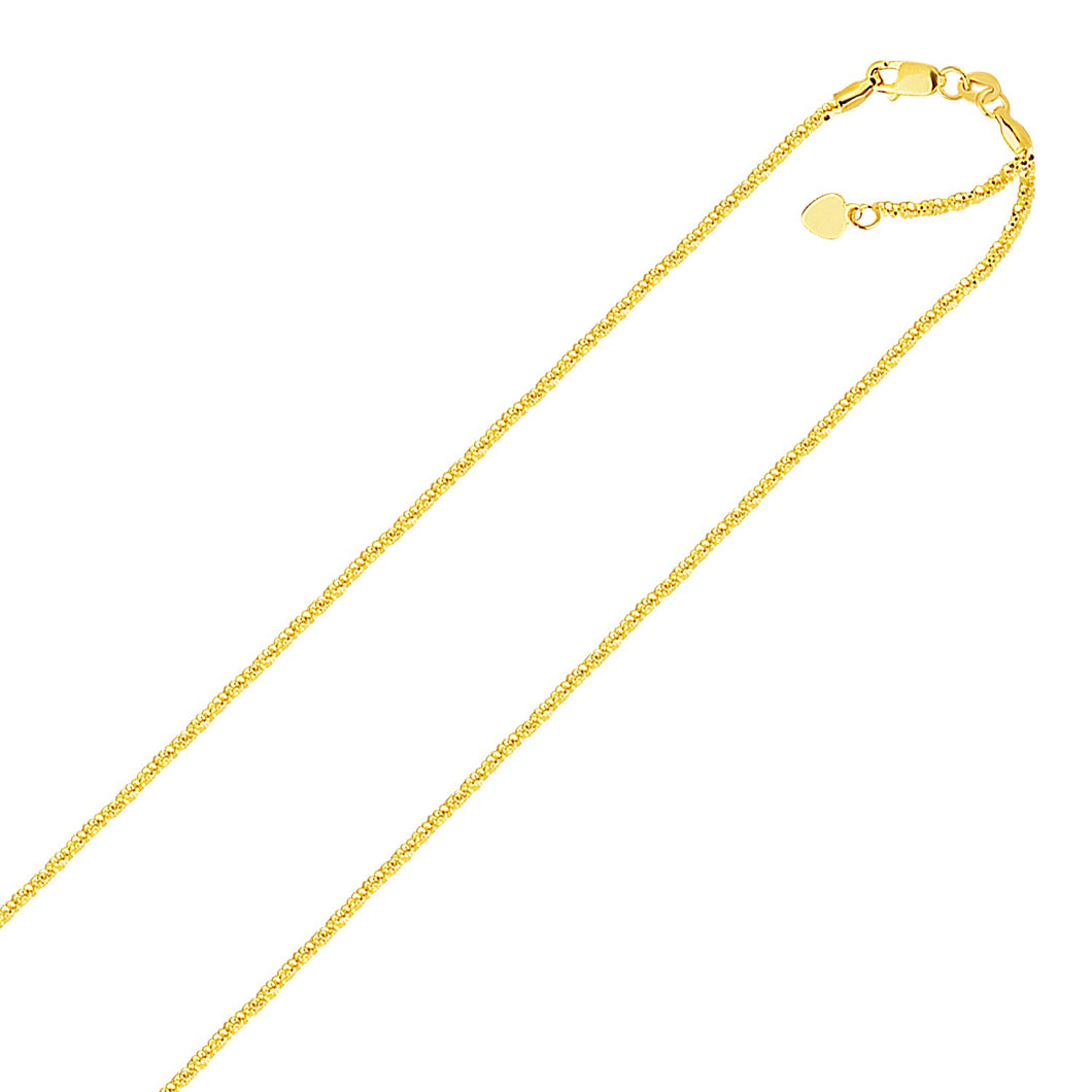 14k Yellow Gold Adjustable Sparkle Chain 1.5mm