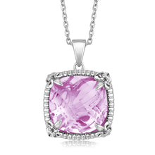 Load image into Gallery viewer, Sterling Silver Square Pink Amethysts and White Sapphire Fleur De Lis Pendant