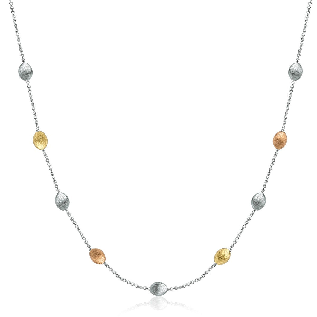 14k Yellow Gold and Sterling Silver Textured Pebbled Stationed Necklace