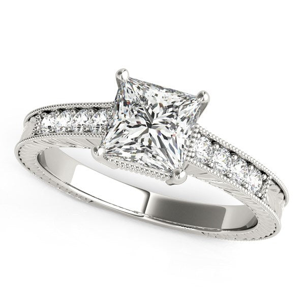 14k White Gold Antique Style Diamond Engagement Ring (1 1/8 cttw)