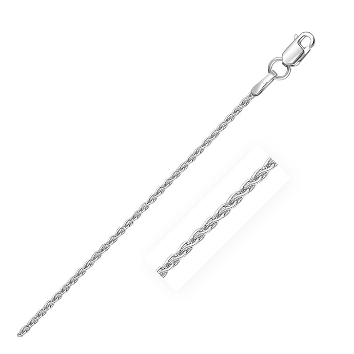 Sterling Silver Rhodium Plated Wheat Chain 1.3mm