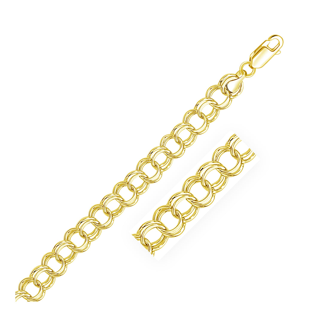 9.0 mm 14k Yellow Gold Solid Double Link Charm Bracelet