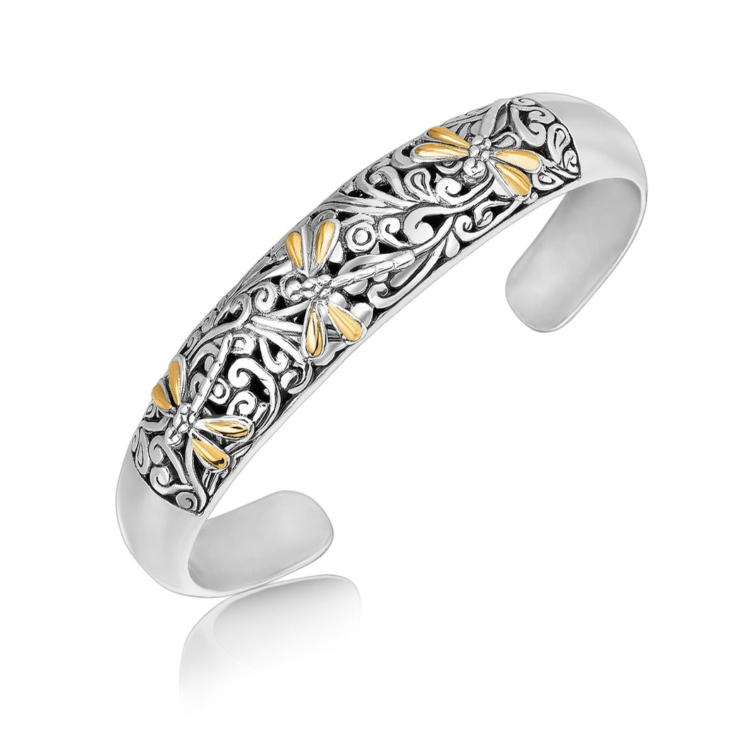 18k Yellow Gold and Sterling Silver Cuff with Dragonfly and Flourishes
