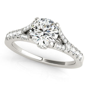 14k White Gold Split Shank Prong Set Diamond Engagement Ring (1 3/8 cttw)