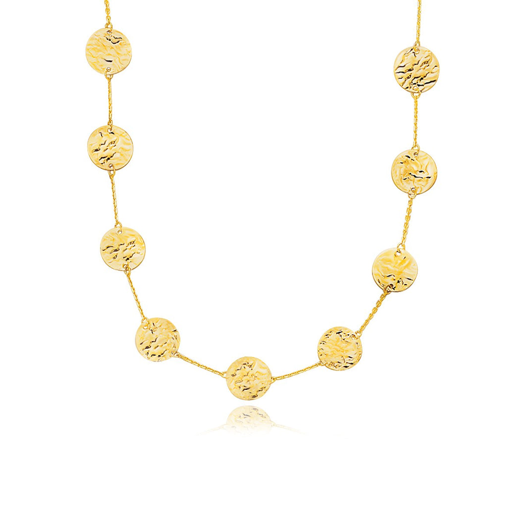 14k Yellow Gold Textured Disc Long Layering Necklace