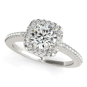 14k White Gold Pave Style Slim Shank Diamond Engagement Ring (1 1/8 cttw)