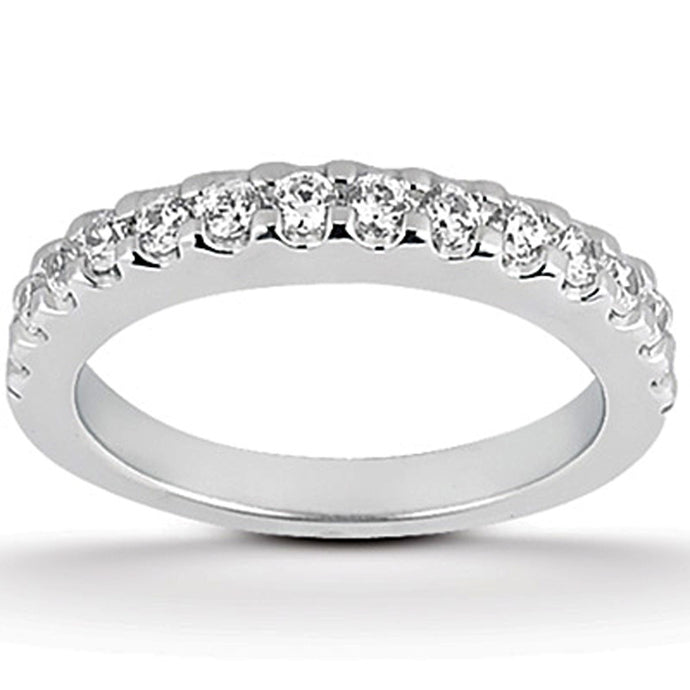 14k White Gold Shared Prong Diamond Wedding Ring Band
