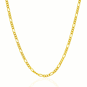 3.0mm 10k Yellow Gold Solid Figaro Chain