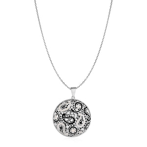 Paisley Mosaic Pendant with Enamel and Cubic Zirconia in Sterling Silver