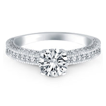 Load image into Gallery viewer, 14k White Gold Diamond Micropave Milgrain Engagement Ring