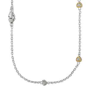 Designer Sterling Silver and 14k Yellow Gold Pave Diamond Heart Station Necklace