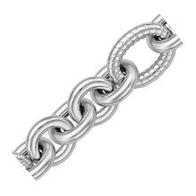 Load image into Gallery viewer, Sterling Silver Oval Cable Style Stationed Chain Bracelet