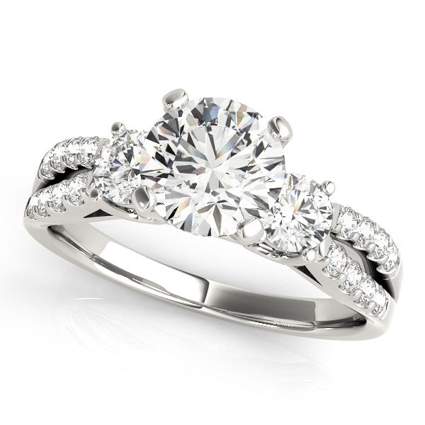 14k White Gold Split Shank 3 Stone Round Diamond Engagement Ring (2 cttw)