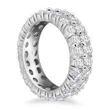 Load image into Gallery viewer, 14k White Gold Double Band Round Diamond Eternity Ring