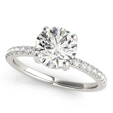 Load image into Gallery viewer, 14k White Gold Diamond Engagement Ring with Scalloped Row Band (2 1/4 cttw)