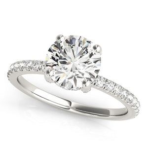14k White Gold Diamond Engagement Ring with Scalloped Row Band (2 1/4 cttw)