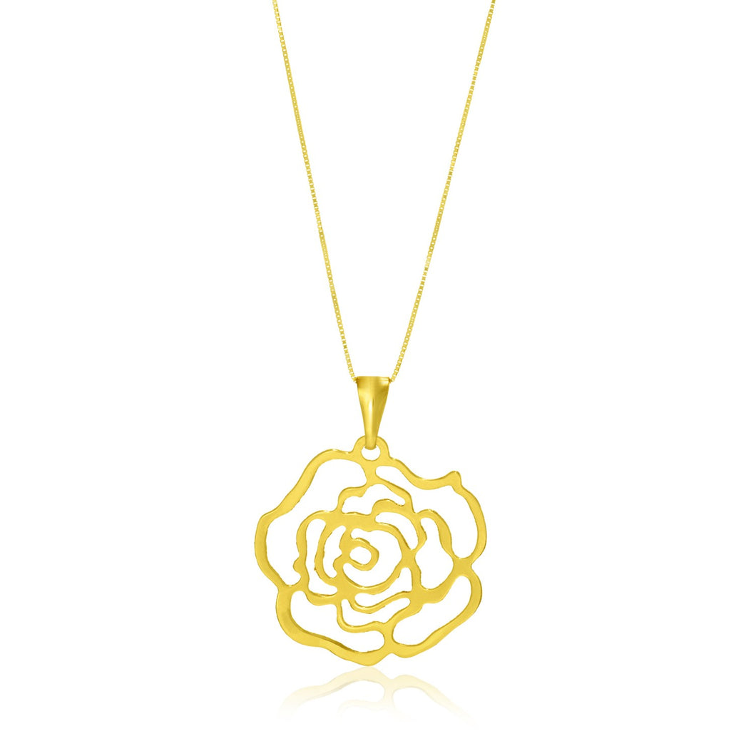 14k Yellow Gold Rose Lace Style Pendant