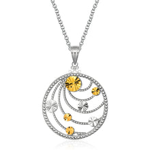 Load image into Gallery viewer, Designer Sterling Silver and 14k Yellow Gold Swirl Medallion Pendant