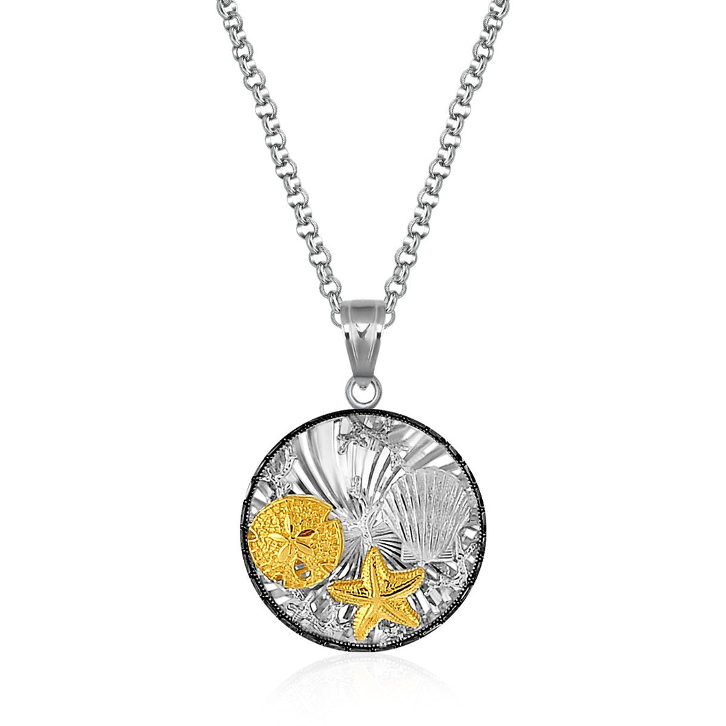 Sterling Silver and 14k Yellow Gold Round Undersea Pendant with Black Crystal