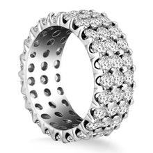 Load image into Gallery viewer, 14k White Gold Triple Band Round Diamond Eternity Ring