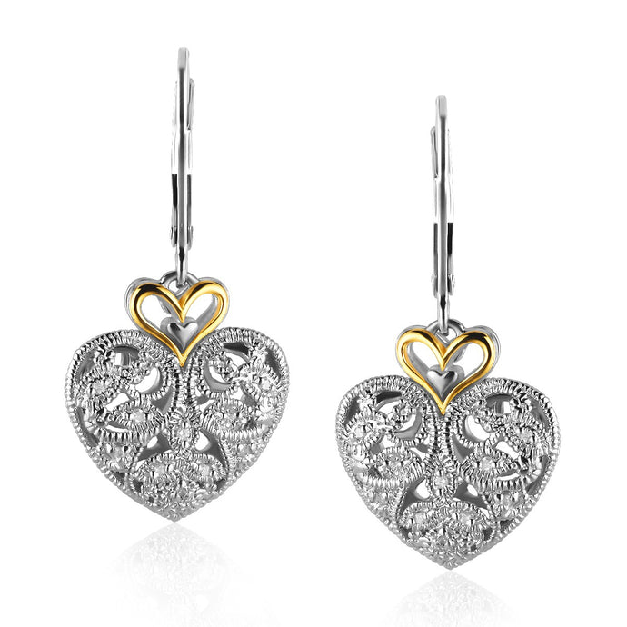 14k Yellow Gold and Sterling Silver Intricate Filigree Heart Drop Earrings
