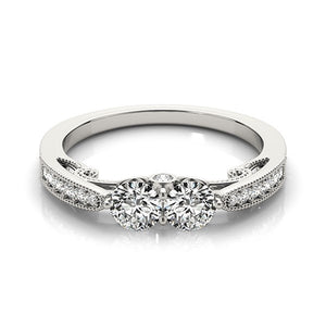 Two Stone Diamond Ring With Milgrain Design In 14k White Gold (3/4 cttw)