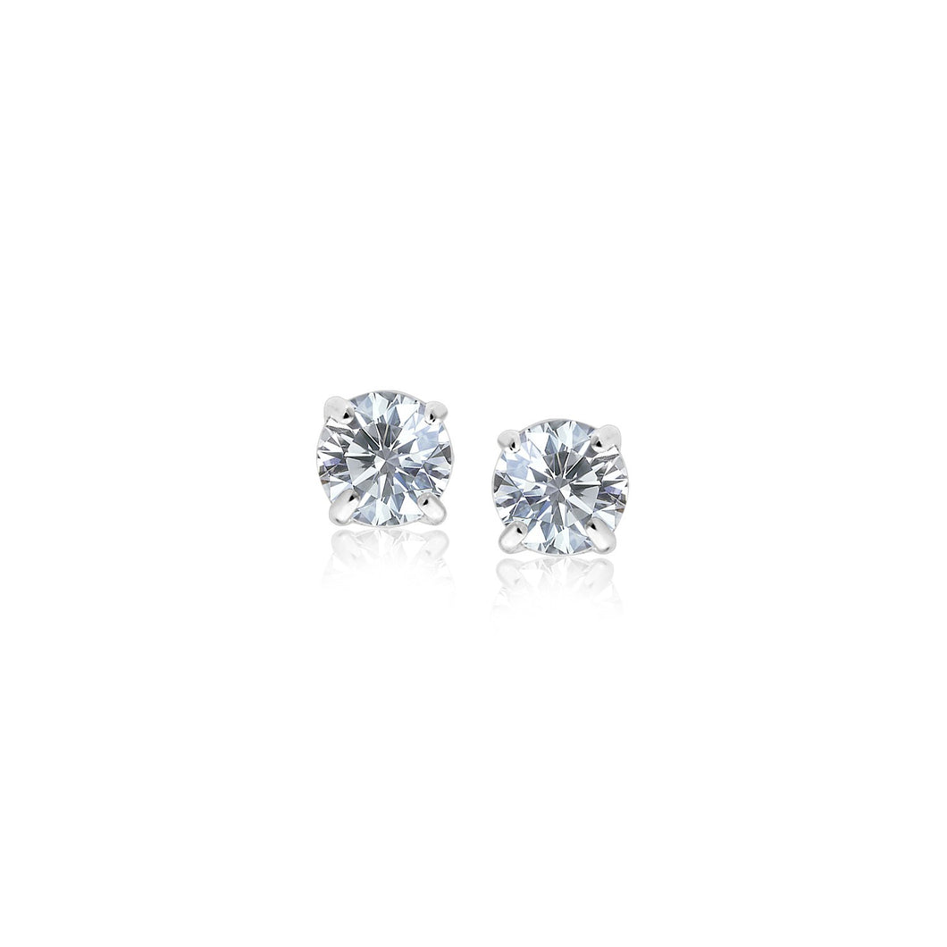 14k White Gold 3mm Faceted White Cubic Zirconia Stud Earrings