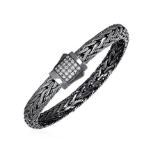 Load image into Gallery viewer, Wide Woven Bracelet with White Sapphires and Black Finish in Sterling Silver