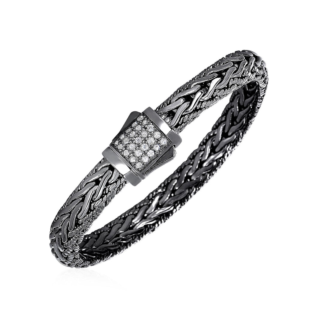 Wide Woven Bracelet with White Sapphires and Black Finish in Sterling Silver