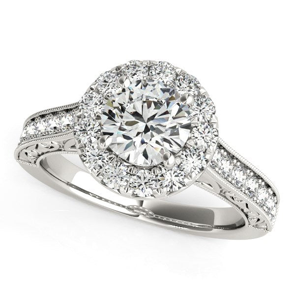 14k White Gold Round Diamond Engagement Ring with Stylish Shank (1 5/8 cttw)