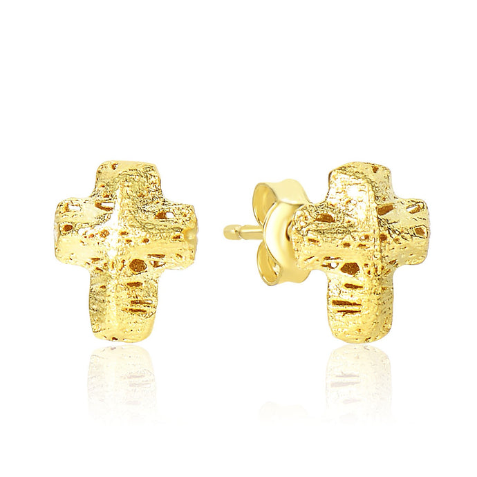 14k Yellow Gold Puff Crucifix Earrings with Texture