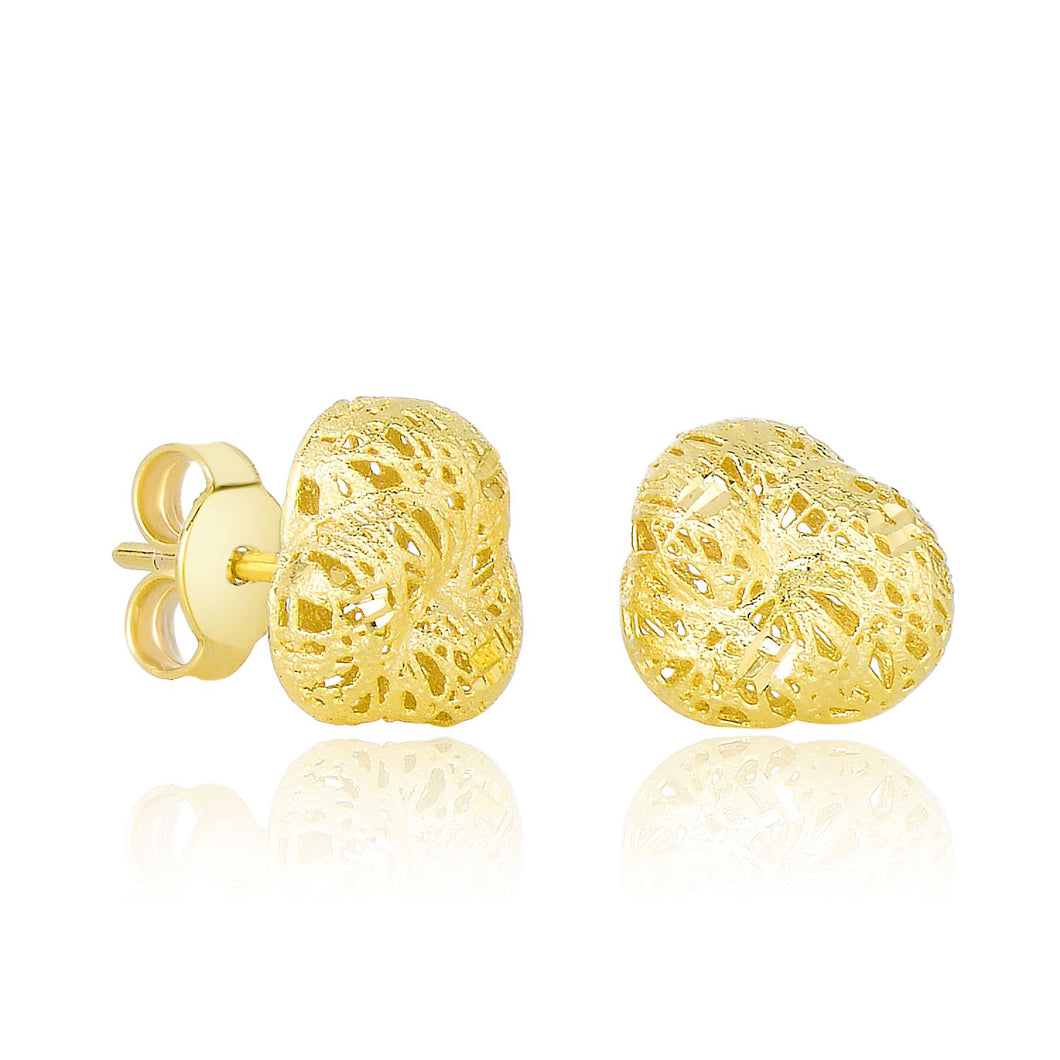 14k Yellow Gold Puff Sanded Design Flower Bud Post Earrings