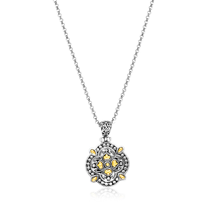 18k Yellow Gold & Sterling Silver Floral Style Byzantine Textured Pendant
