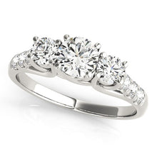 Load image into Gallery viewer, 14k White Gold Trellis Set 3 Stone Round Diamond Engagement Ring (1 1/8 cttw)