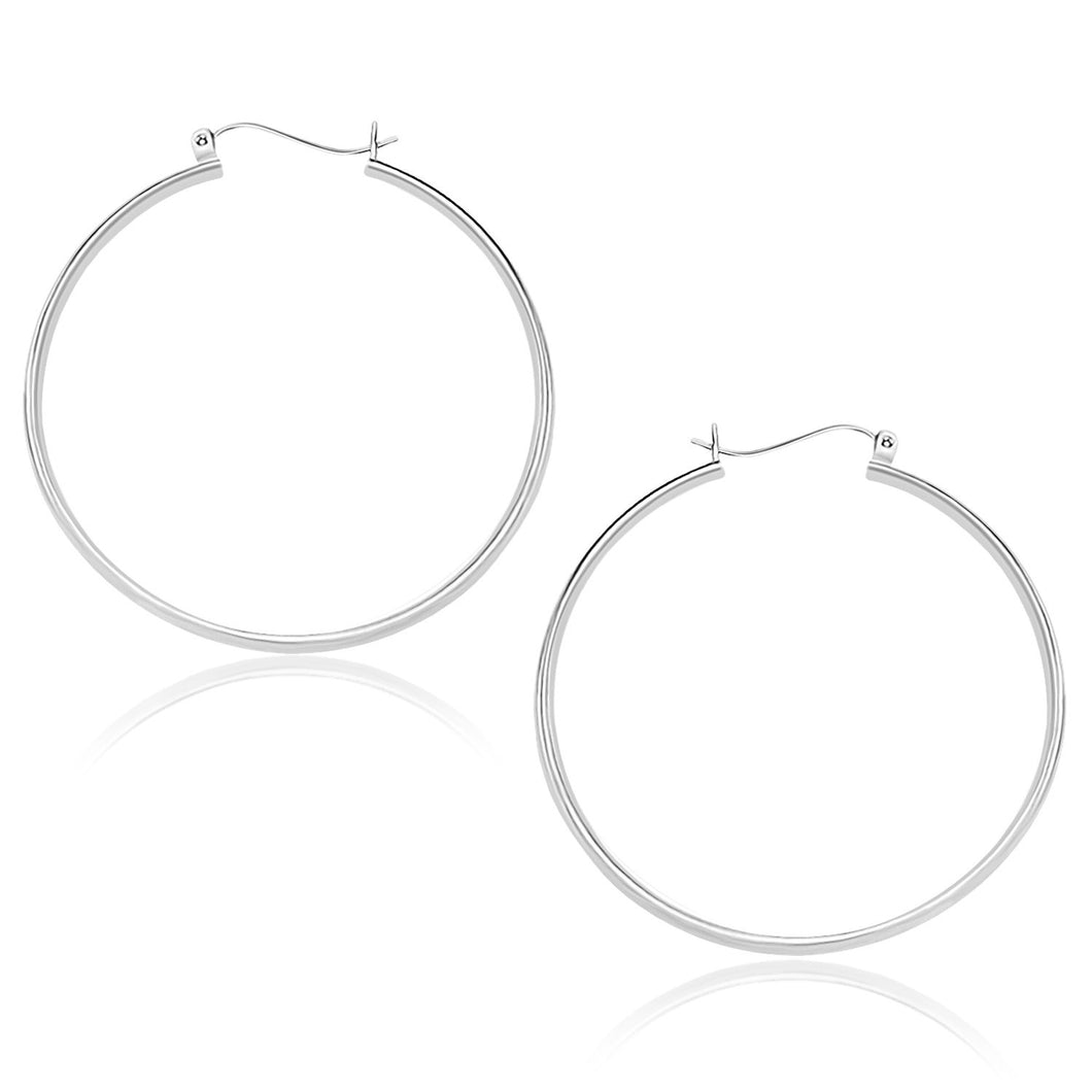 10k White Gold Polished Hoop Earrings (40mm)