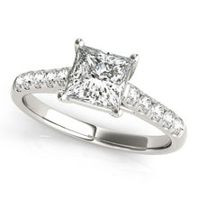 Load image into Gallery viewer, 14k White Gold Trellis Set Princess Cut Diamond Engagement Ring (1 1/4 cttw)