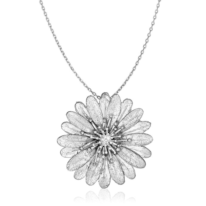 Sterling Silver Large Flower Pendant with Sparkle Texture