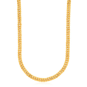 14k Yellow Gold Curb Style Chain Textured Necklace