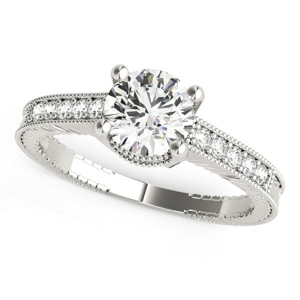 14k White Gold Round Antique Style Diamond Engagement Ring (1 1/8 cttw)