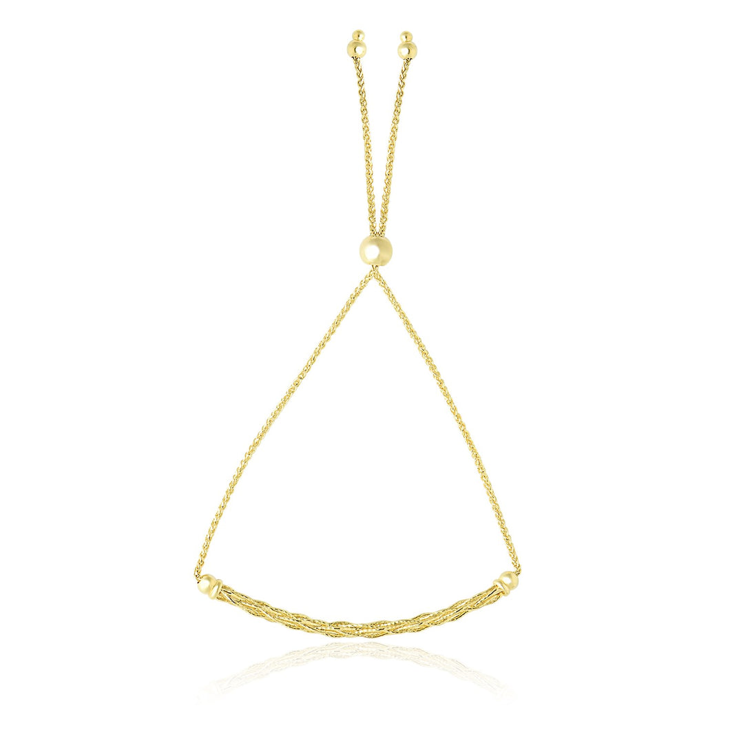 14k Yellow Gold Adjustable Lariat Bracelet with Curved Bar and Chain Design